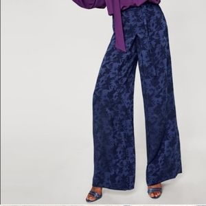 Zara Blue Floral Satin Wide Leg High Waist Trouser